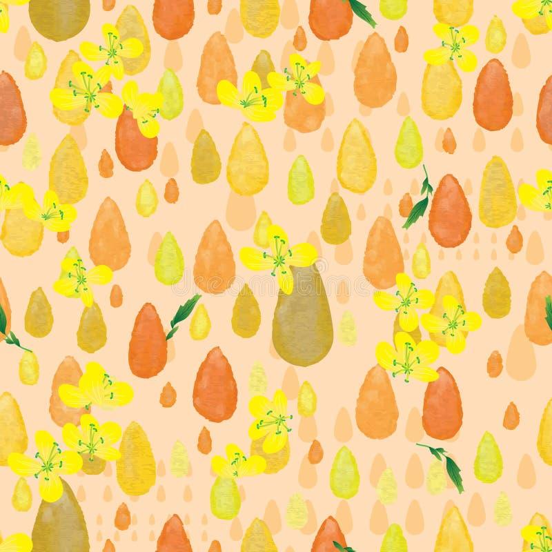 Modell för blomma för droppvattenfärgcanola sömlös royaltyfri illustrationer