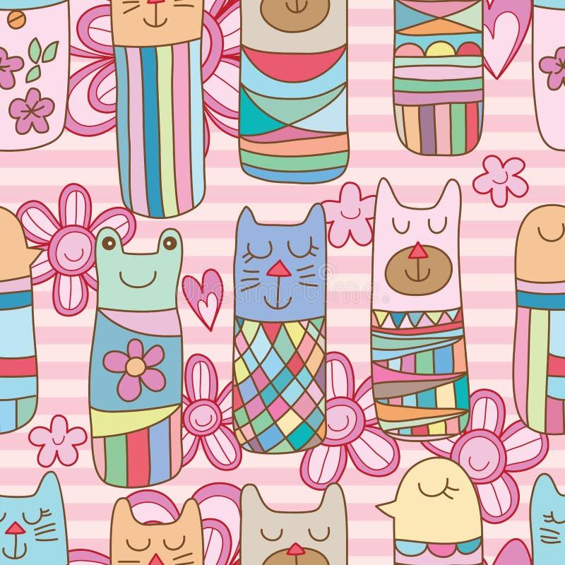 Modell för blomma för groda för björn för Kokeshi kattfågel rosa sömlös royaltyfri illustrationer
