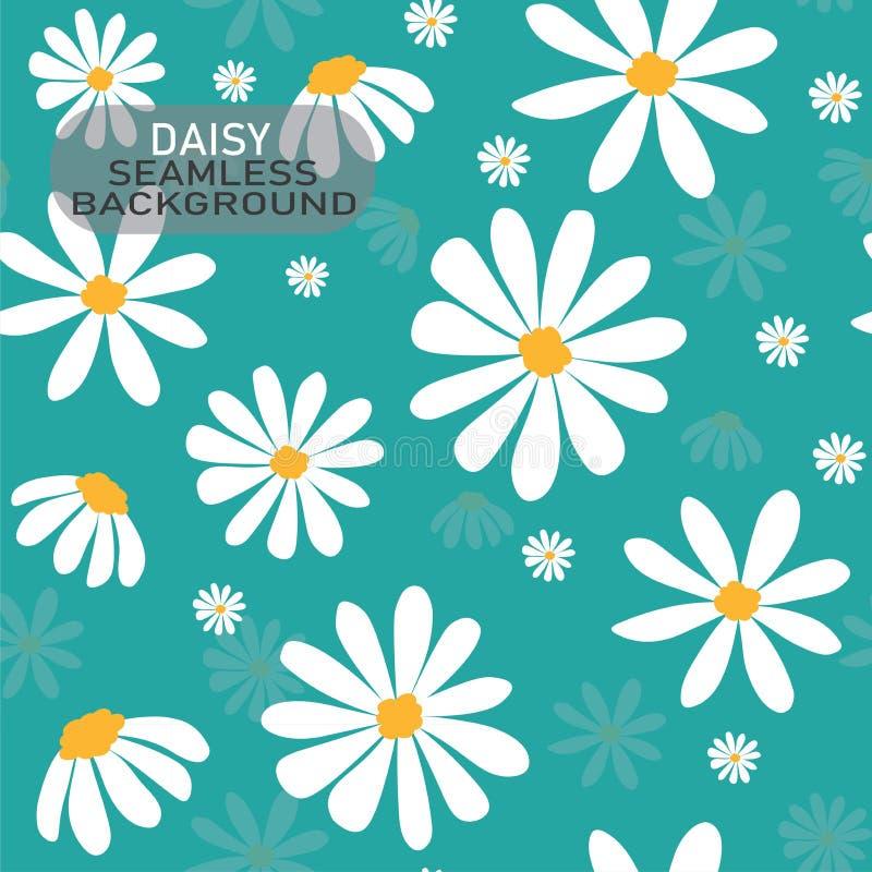 Modell för blomma för vit tusensköna för vektorklotter på pastellfärgad mintkaramellgräsplanbakgrund, sömlös bakgrund royaltyfri illustrationer