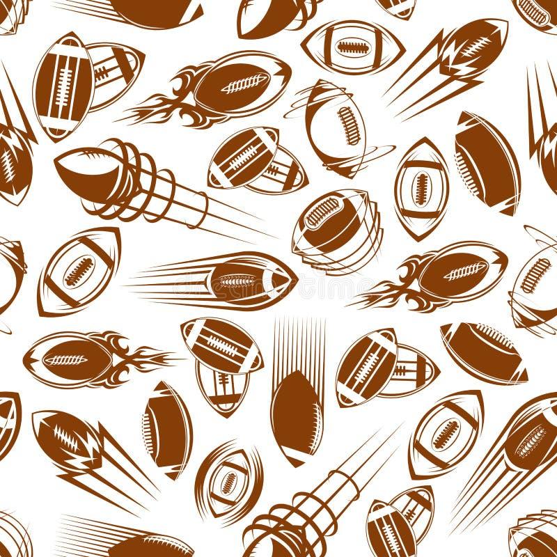 Modell för bollar för amerikansk fotboll eller rugbysömlös vektor illustrationer