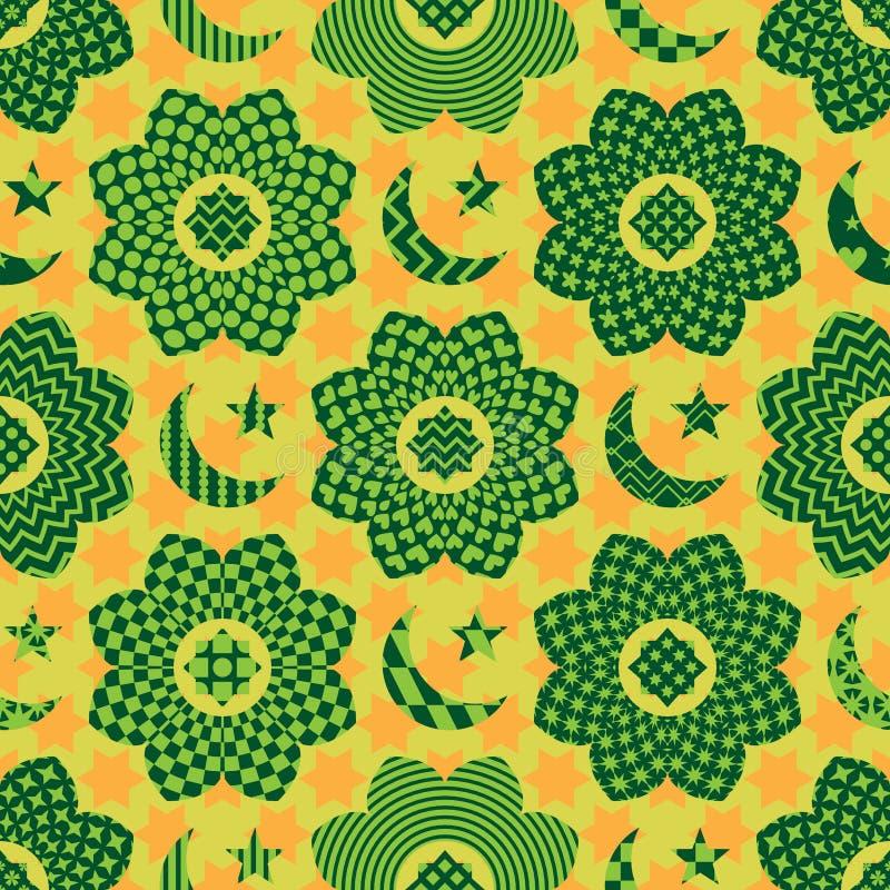 Modell för cirkel för blomma för Ramadanbeståndsdelsnitt sömlös vektor illustrationer