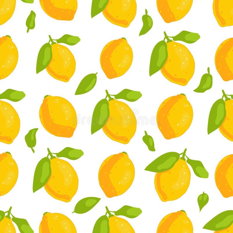 Modell för citroner för tropisk frukt sömlös royaltyfri illustrationer
