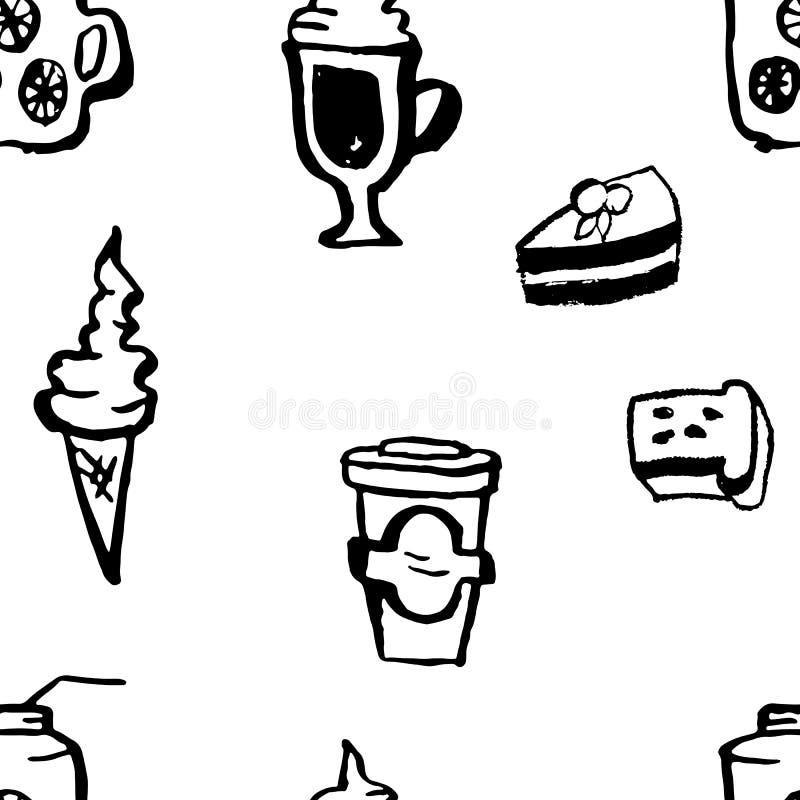 Modell för coffee shop för utdragen vektor för hand sömlös Efterrättgrungebakgrund royaltyfri illustrationer