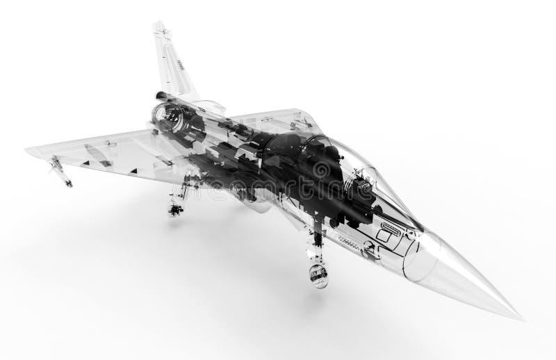 modell för 3D CAD av ett militärt kämpeflygplan royaltyfri illustrationer
