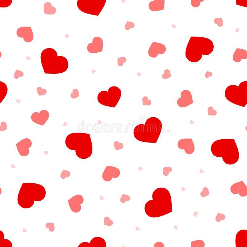 Modell för dag för valentin` s sömlös med röda och rosa hjärtor också vektor för coreldrawillustration royaltyfri illustrationer