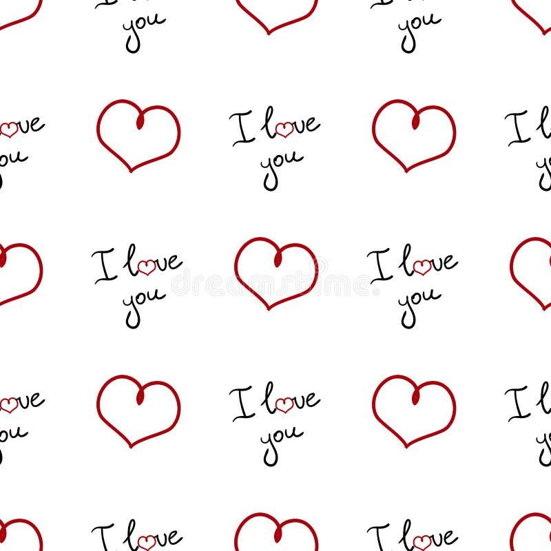 Modell för dag för valentin` s sömlös Rengöringsdukbakgrund med hjärtor och ord` älskar jag dig `, vektor illustrationer