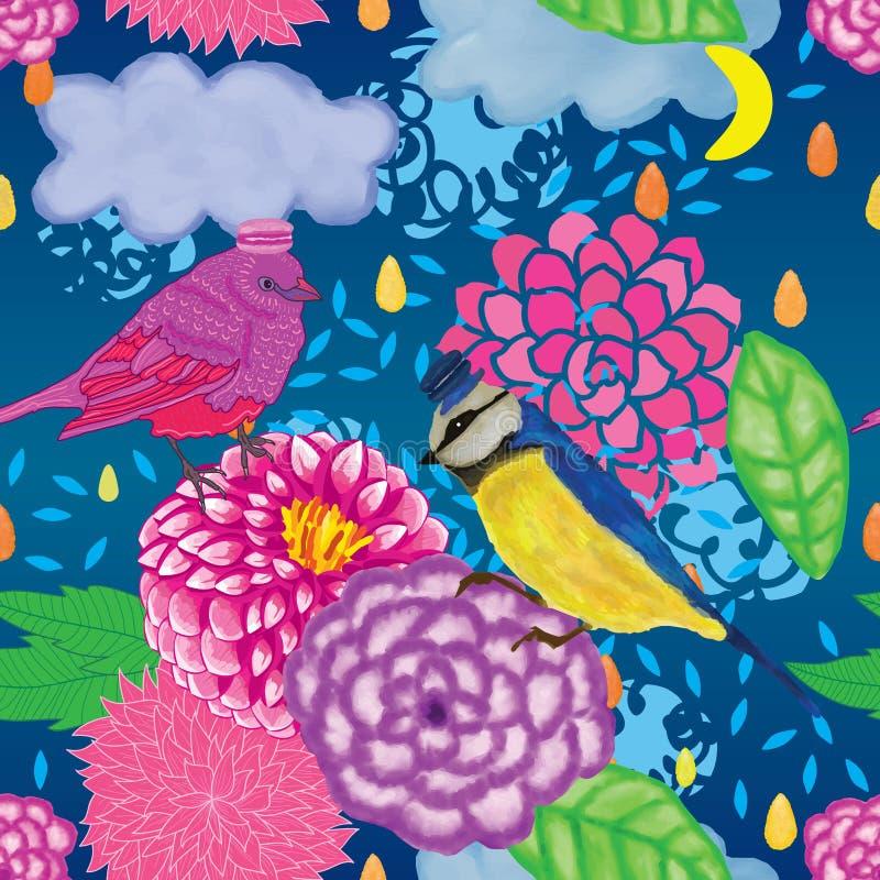 Modell för droppe för moln för fågelmacarondahlia sömlös royaltyfri illustrationer