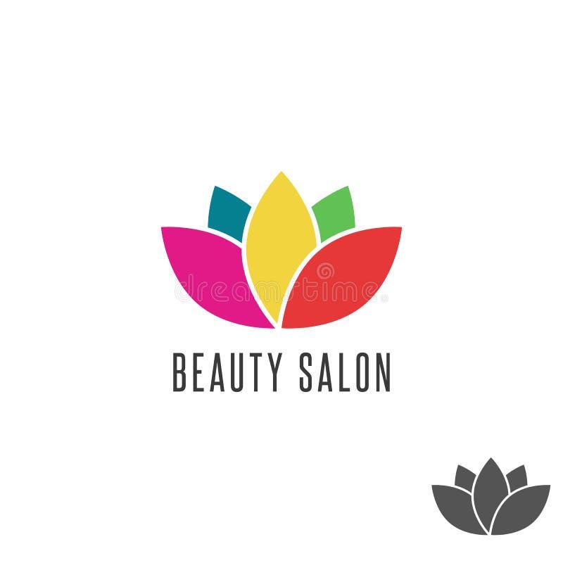 Modell för emblem för salong för skönhet för Lotus logoblomma färgrik, blom- orientalisk abstrakt teckenyoga royaltyfri illustrationer