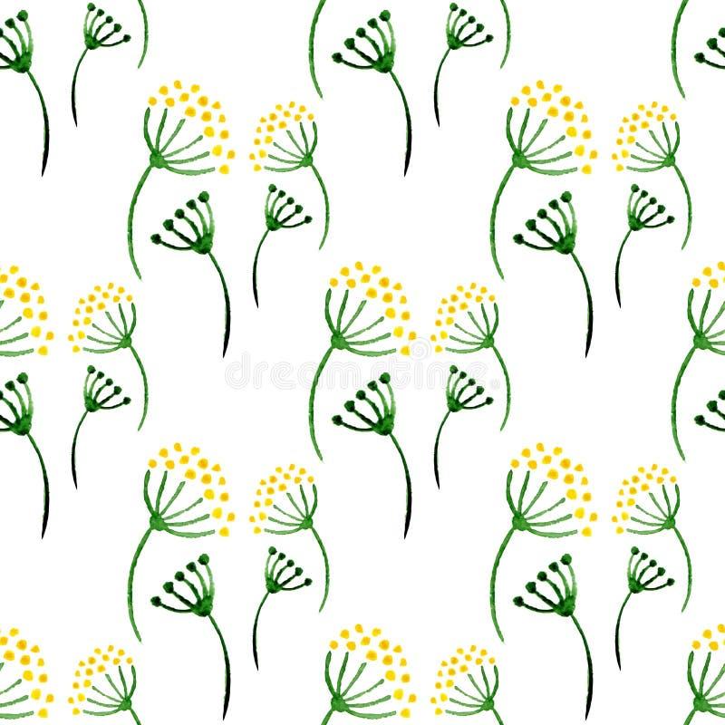 Modell för enkla örter för vattenfärg sömlös Bakgrund med blommadill Illustration för vektorhandmålarfärg för inpackning, textil, stock illustrationer