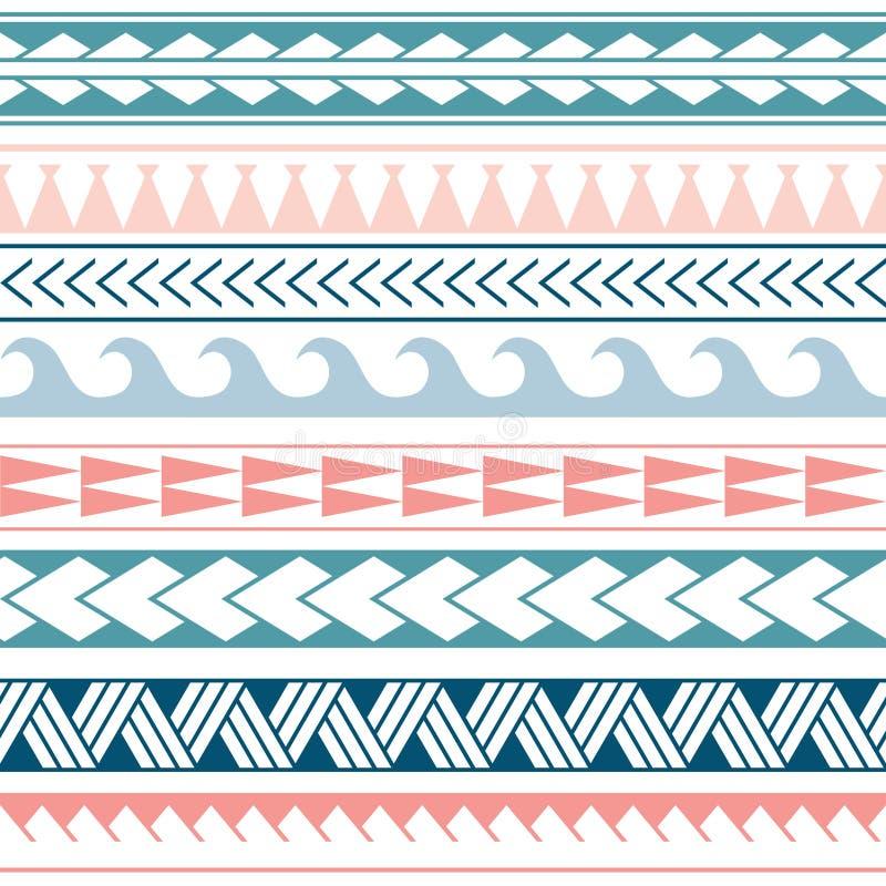 Modell för etnisk boho för vektor sömlös i maori stil Geometrisk gräns med dekorativa etniska beståndsdelar bl? pink royaltyfri illustrationer