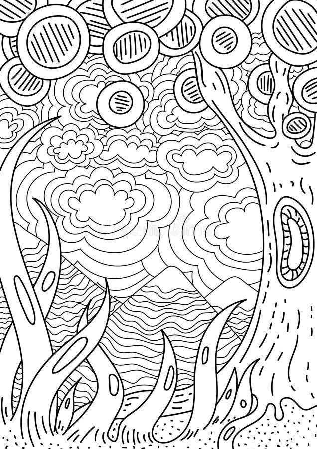 Modell för färgläggningbok Etnisk retro design stock illustrationer