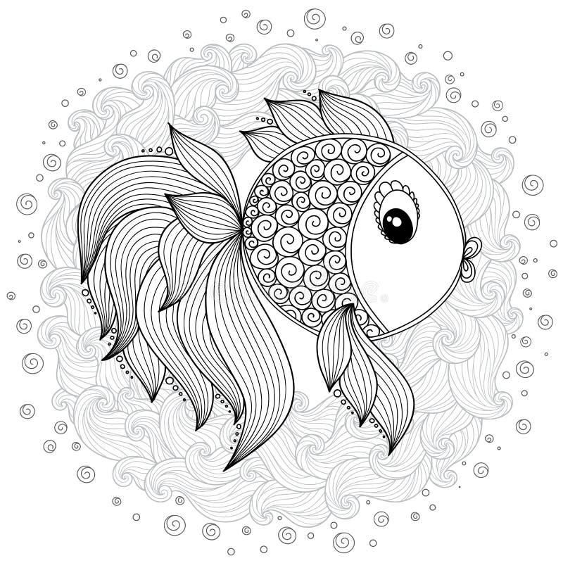 Modell för färgläggningbok Gullig tecknad filmfisk för vektor royaltyfri illustrationer