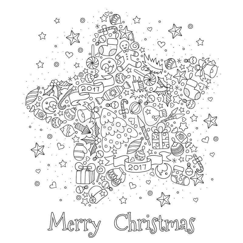 Modell för färgläggningbok Jul hand-dragen dekorativ eleme stock illustrationer