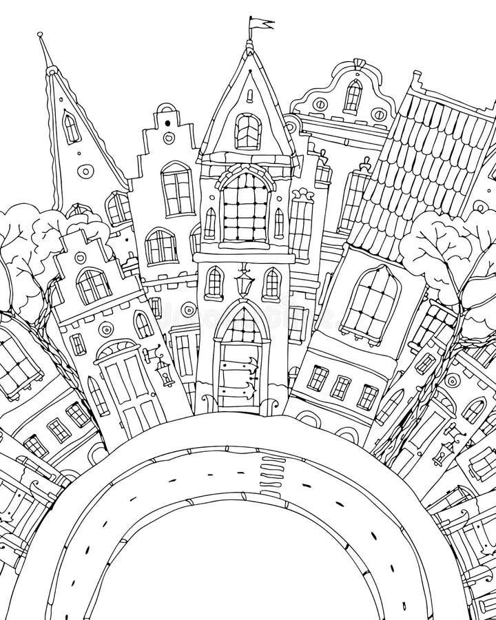 Modell för färgläggningbok med artistically husmagi vektor illustrationer