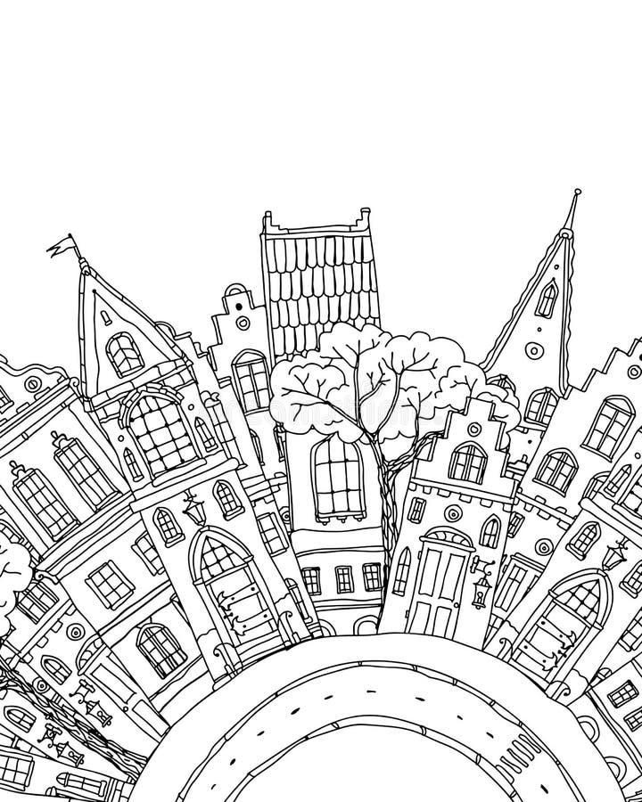 Modell för färgläggningbok med artistically husmagi royaltyfri illustrationer
