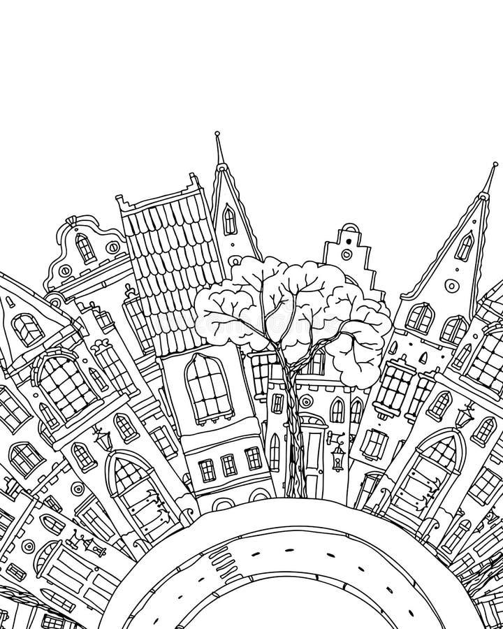 Modell för färgläggningbok med artistically husmagi stock illustrationer