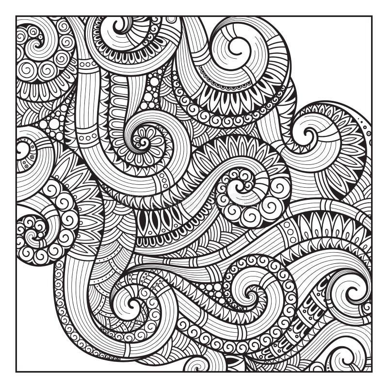 Modell för färgläggningbok Person som tillhör en etnisk minoritet blom- som är retro, klotter, vektor stock illustrationer