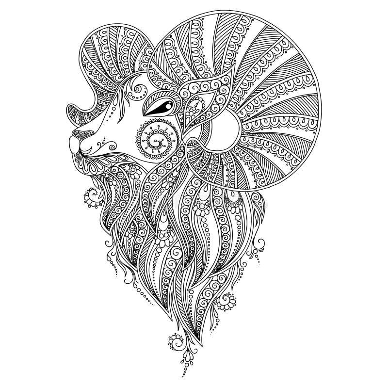 Modell för färgläggningbok Rams huvud stock illustrationer