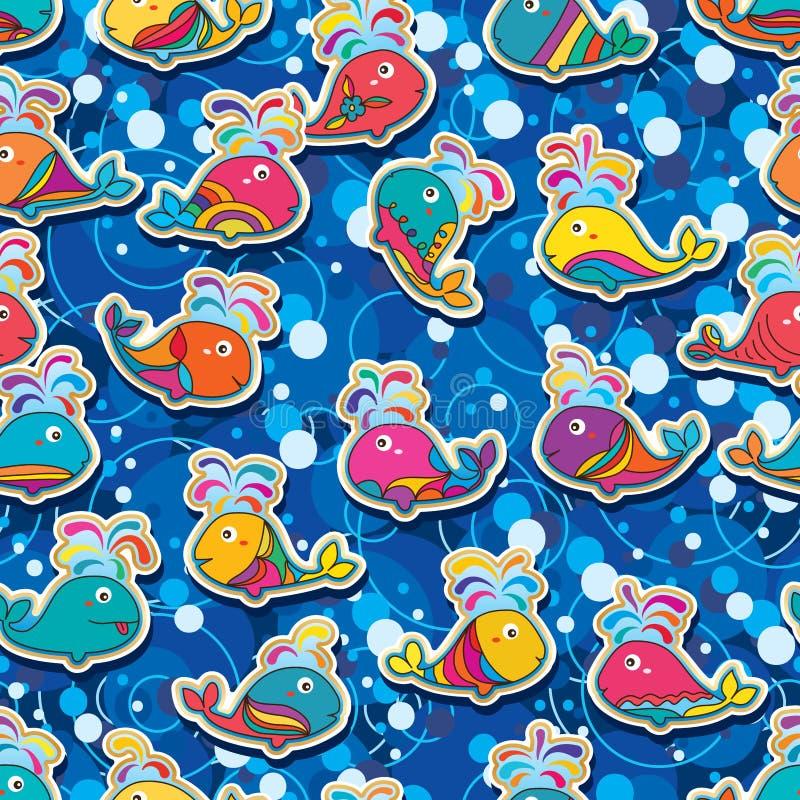 Modell för färgrik bubbla för klistermärke för valmakeupfisk sömlös stock illustrationer