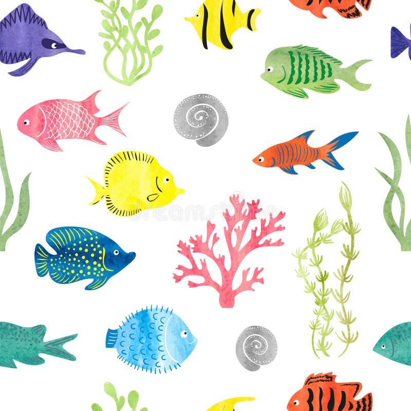 Modell för färgrik fisk för vattenfärg sömlös royaltyfri illustrationer