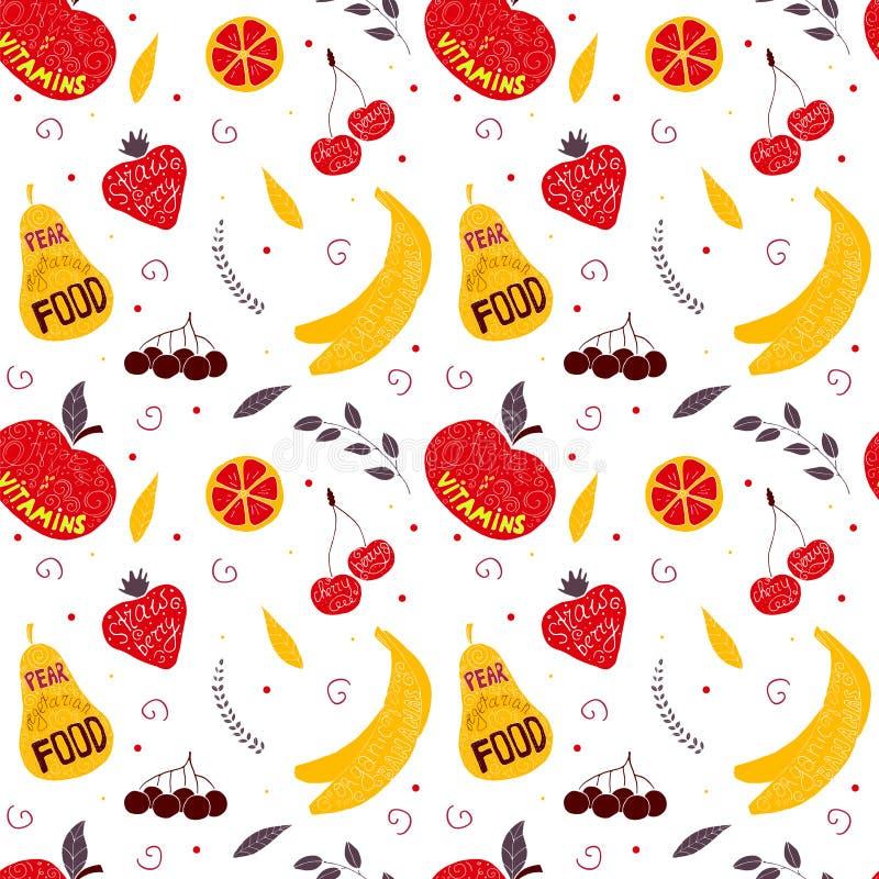 Modell för färgrik frukt för vektor hand dragen sömlös med päron, körsbär, bär stock illustrationer