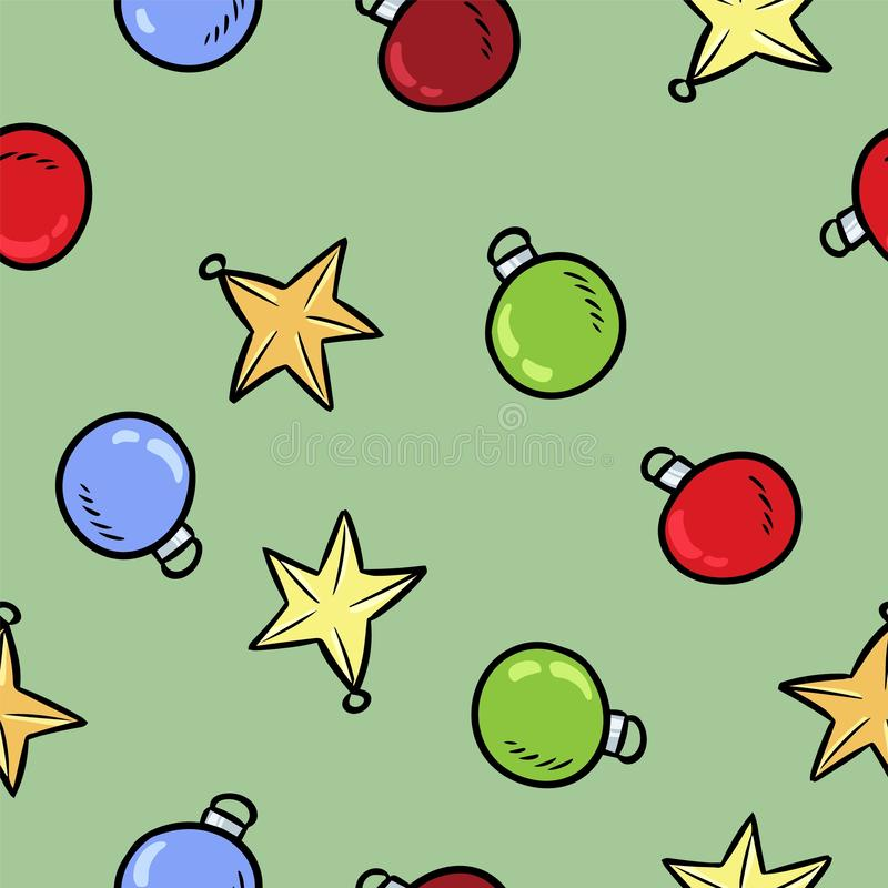 Modell för färgrik garnering för klotter för julleksaker sömlös royaltyfri illustrationer