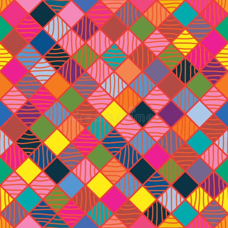 Modell för färgrik teckning för diamantform sömlös stock illustrationer