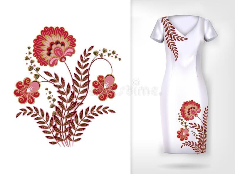 Modell för färgrik trend för broderi blom- Traditionellt dekorativt flowerspattern för vektor på klänningåtlöje upp Kan användas  royaltyfri illustrationer