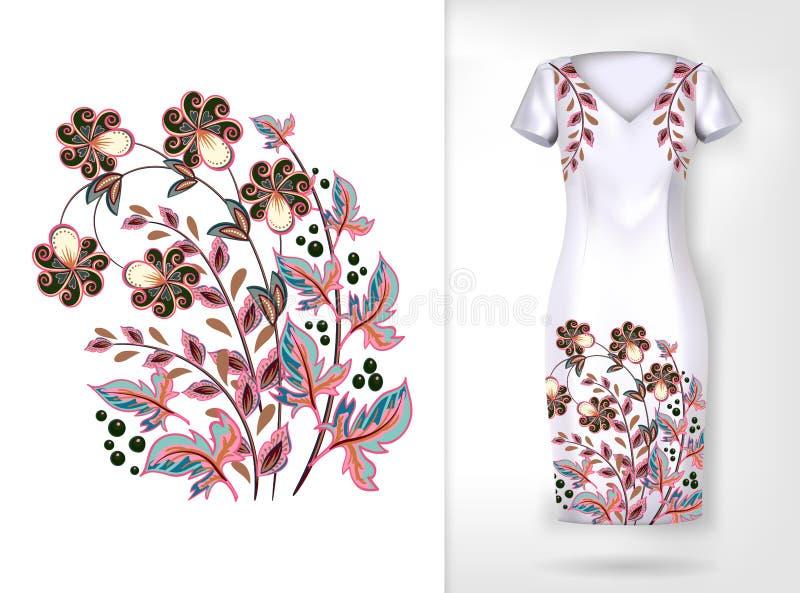 Modell för färgrik trend för broderi blom- Traditionellt dekorativt flowerspattern för vektor på klänningåtlöje upp Kan användas  stock illustrationer