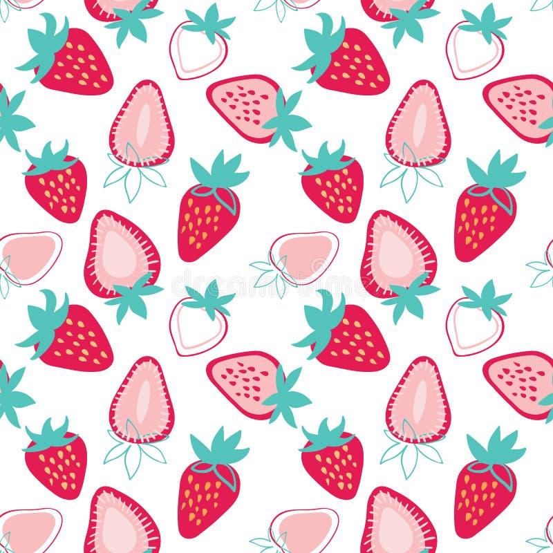 Modell för färgrika smakliga moderiktiga jordgubbar för vektor sömlös på ljus bakgrund stock illustrationer