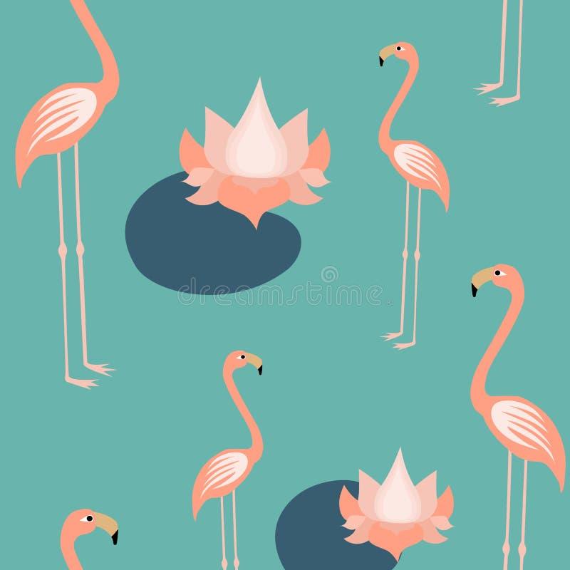 Modell för fåglar och för lotusblommor för rosa flamingo tropisk sömlös, exotiska upprepad modell Backround för fågelRainforest t royaltyfri illustrationer
