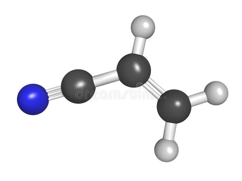 Modell för för Acrylonitrilemolekylboll och pinne vektor illustrationer