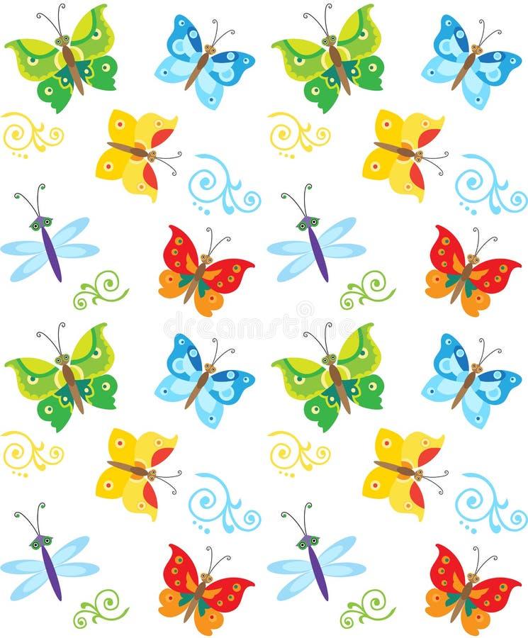 Modell för för tecknad filmstilfjäril och slända Färgrika fjärilar i vektor Trevlig barnslig bakgrund royaltyfri illustrationer