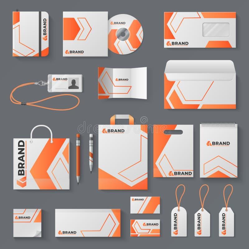 Modell för företags identitet Kontorsbrevpapper som brännmärker kuvertet för bokstaven för affärskortet, rånar märkesbroschyrräkn royaltyfri illustrationer
