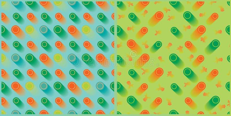 Modell för fastställd guld- fisk för cirkel sömlös stock illustrationer