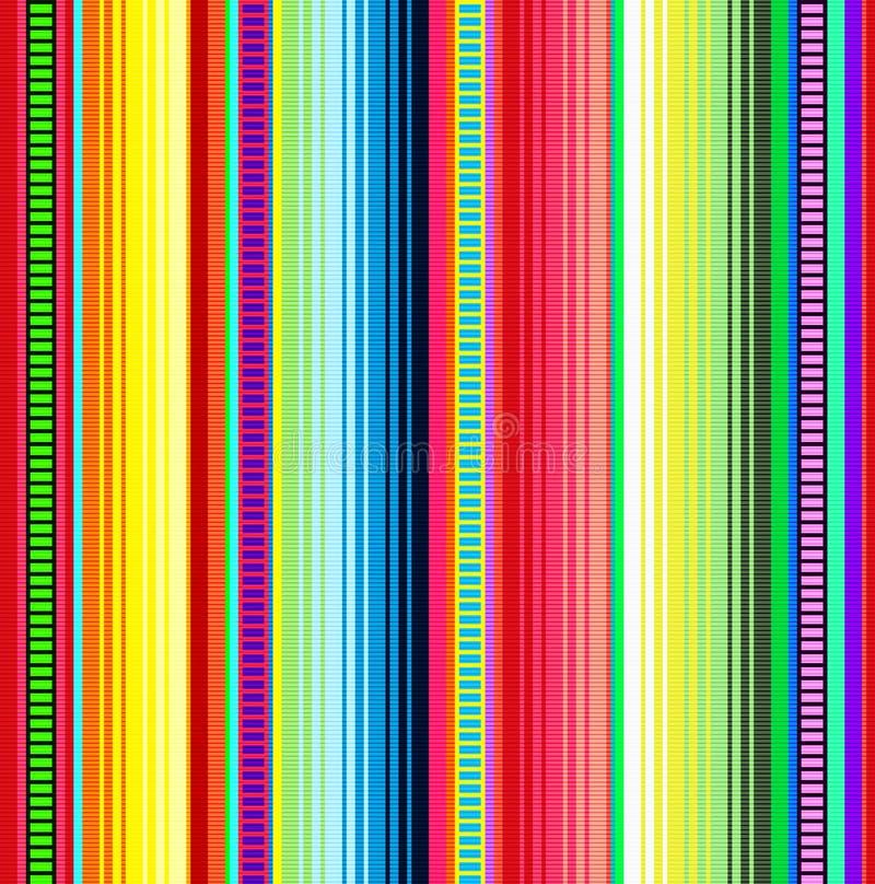 Modell för filtbandvektor Bakgrund för Cinco de Mayo partidekor eller etnisk mexikansk tygmodell med färgrika band vektor illustrationer