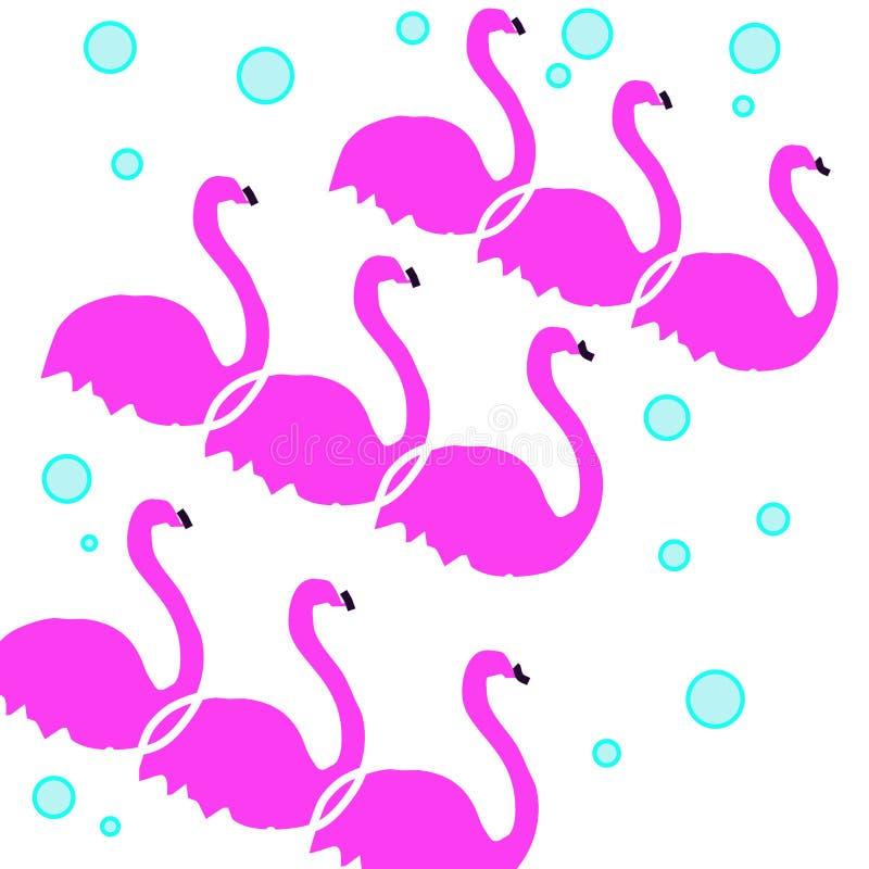 modell för 3 flamingo med blåa bubblor vektor illustrationer