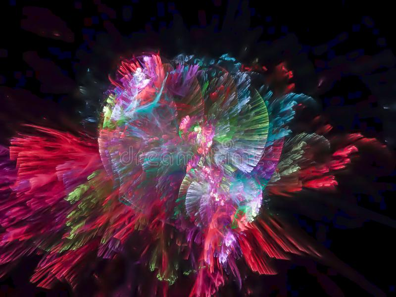 Modell för fractal för abstrakt vibrerande digital för explosionfantasipartikel textur för cybernetic design futuristisk vektor illustrationer