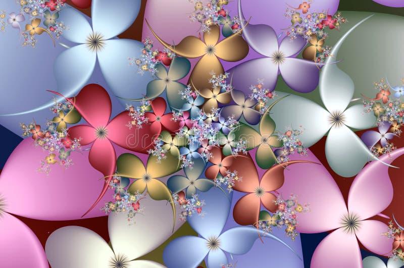 Modell för Fractalblommaspiral stock illustrationer