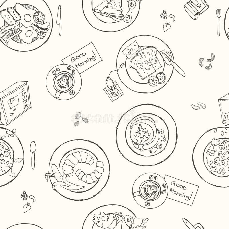 Modell för frukost för vektor hand dragen sömlös vektor illustrationer