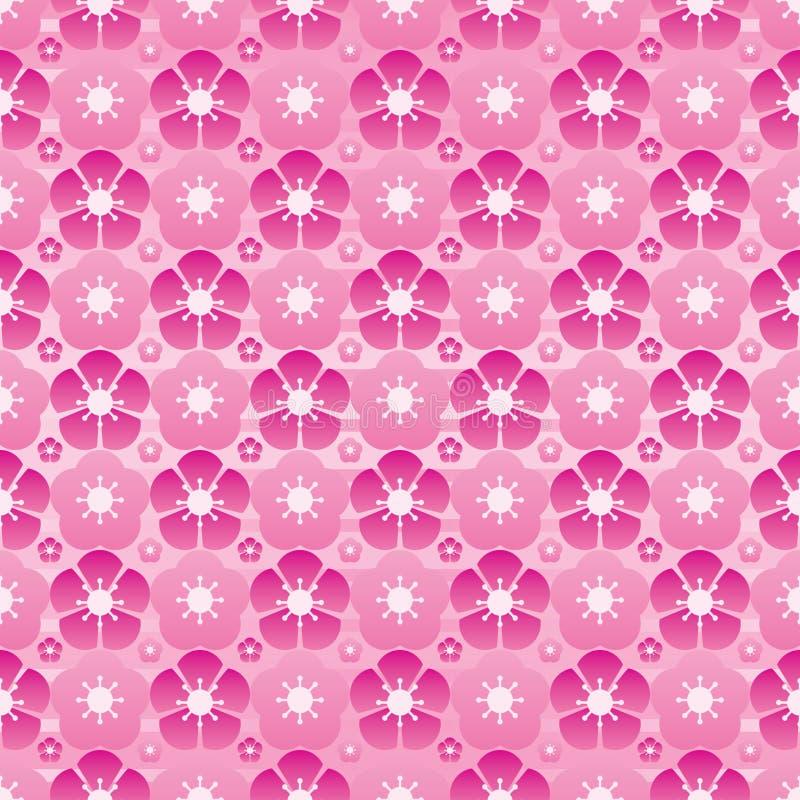 Modell för full sida för symmetri för körsbärsröd blomma modern sömlös stock illustrationer