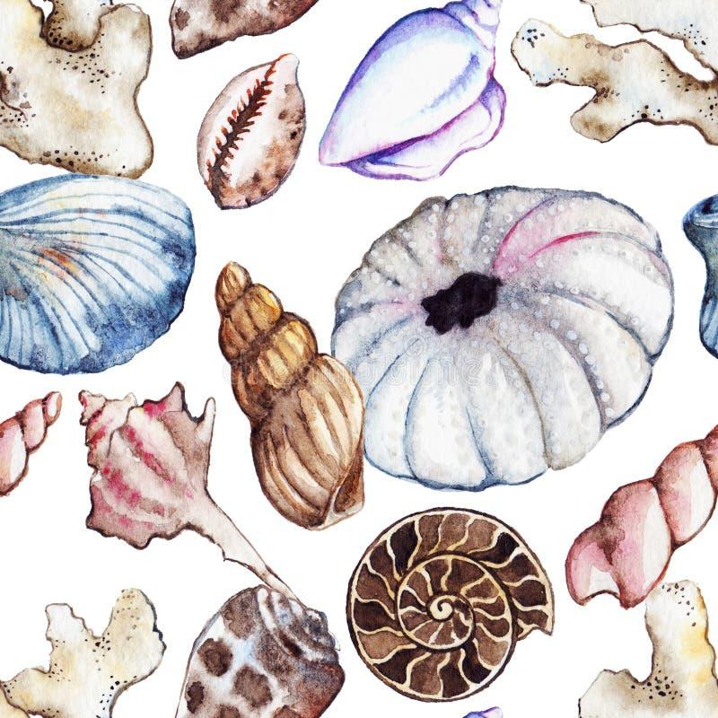 Modell för gatubarn för ammonit för korall för snäckskal för seahorse för vattenfärghavshav sömlös vektor illustrationer