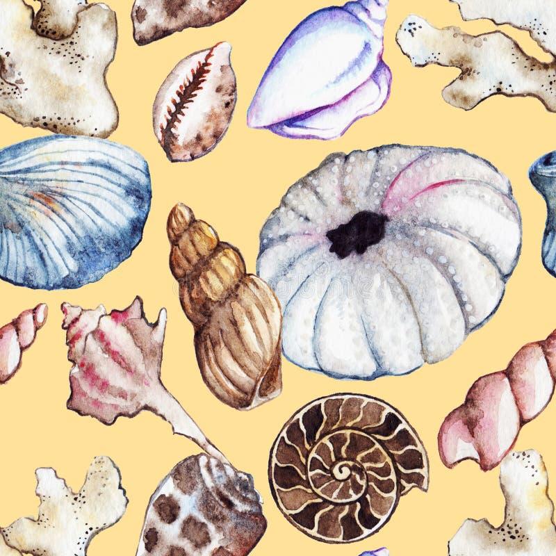 Modell för gatubarn för ammonit för korall för snäckskal för seahorse för vattenfärghavshav sömlös royaltyfri illustrationer