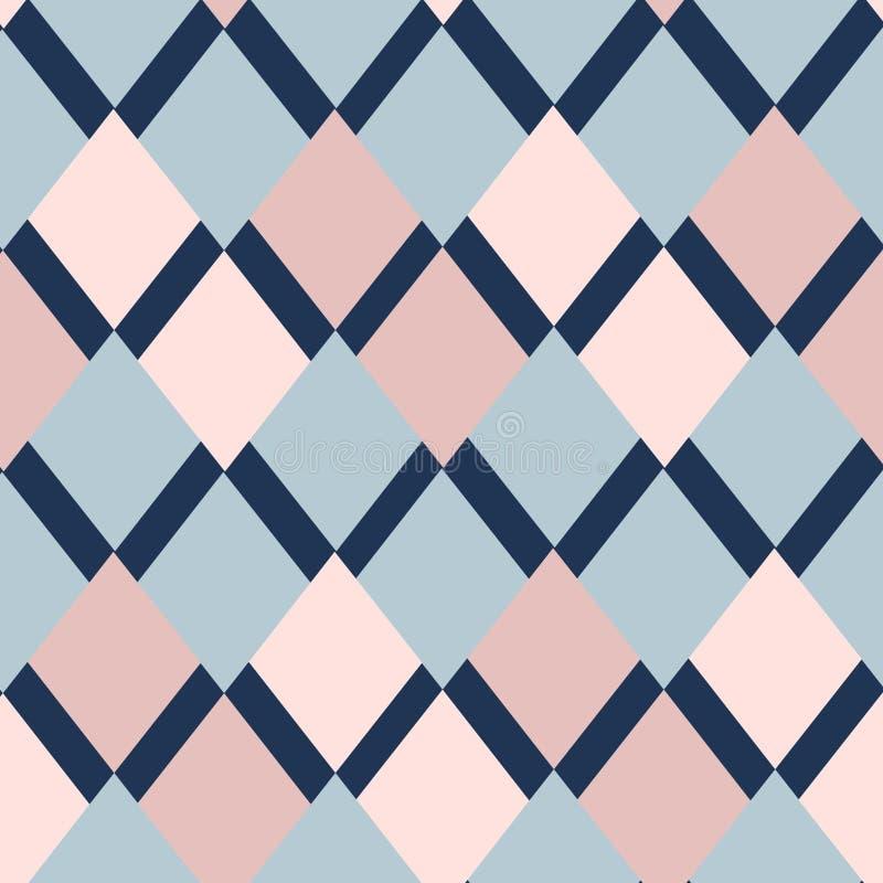 Modell för geometrifyrkantvektor Etnisk seamless prydnad Abstrakt bakgrund - färgrika linjer vektor illustrationer