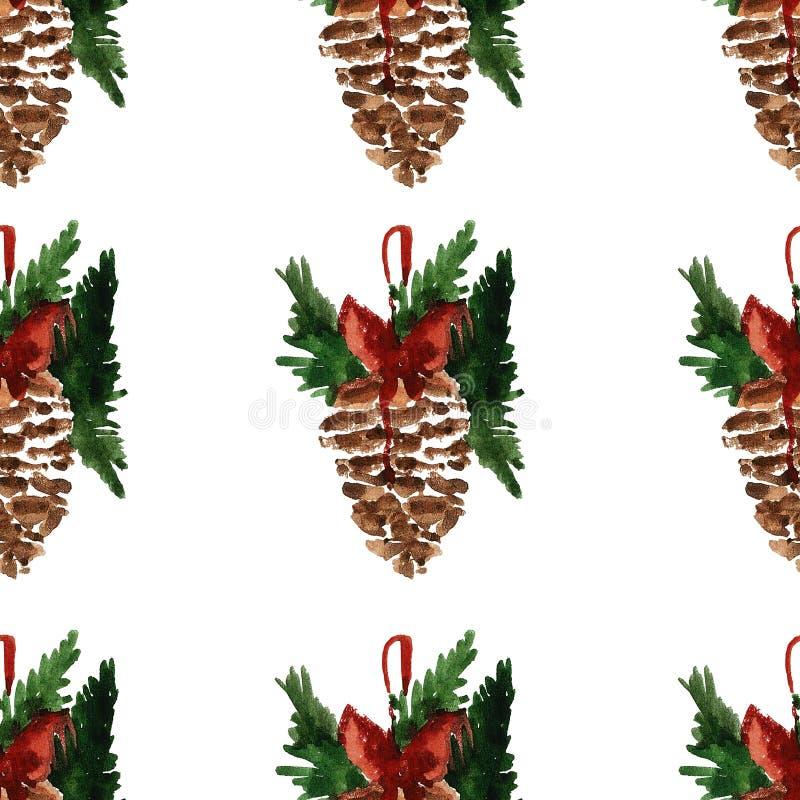 Modell för glad jul för järnek glad sömlös stock illustrationer