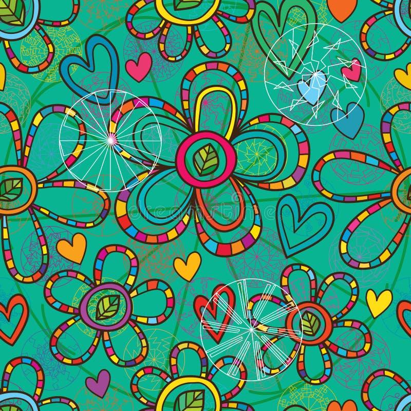 Modell för grön färg för blommamandaladekor sömlös stock illustrationer