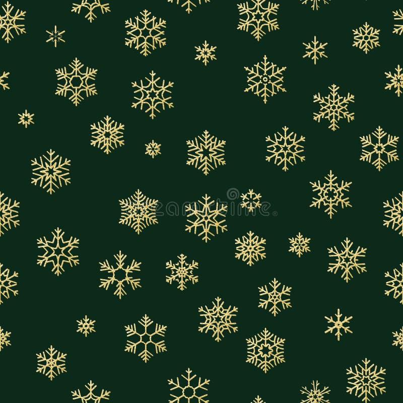 Modell för guld- snöflingor för vinter för glad jul och för lyckligt nytt år sömlös 10 eps vektor illustrationer