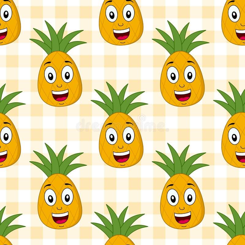 Modell för gullig ananas för tecknad film sömlös vektor illustrationer
