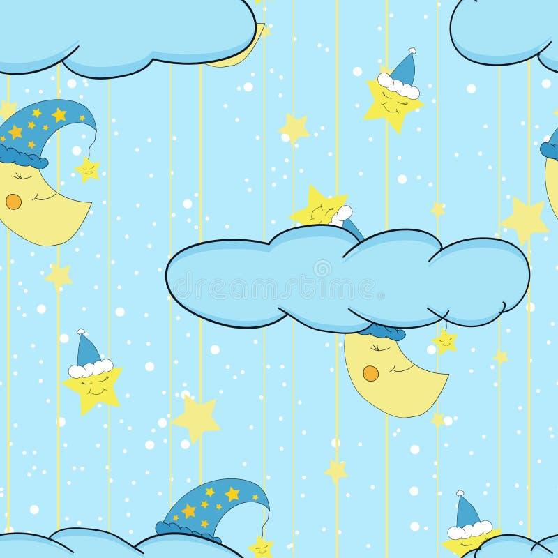 Modell för gullig illustration för tecknad film sömlös för barns rum eller en sänglinne och en pyjamas med att le månen och stjär vektor illustrationer
