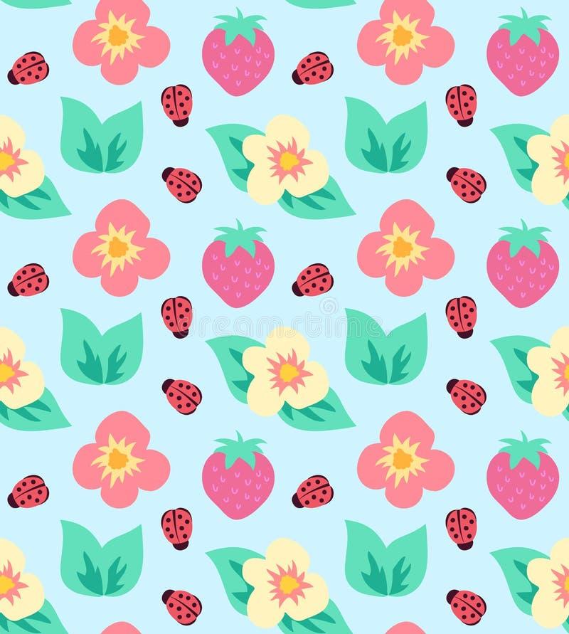 Modell för gullig jordgubbe för sommar färgrik med blommor och nyckelpigan royaltyfri illustrationer